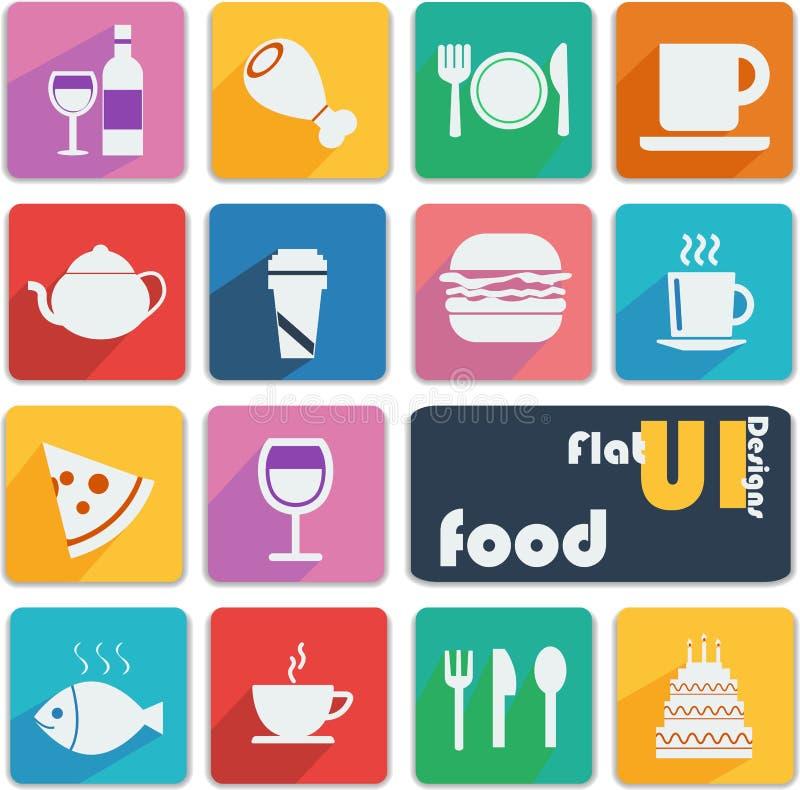 Vlakke UI-ontwerppictogrammen - Voedsel vector illustratie
