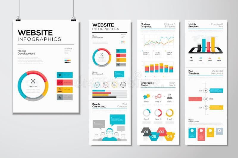 Vlakke van de Webontwerp & website infographics bedrijfs vectorelementen royalty-vrije illustratie