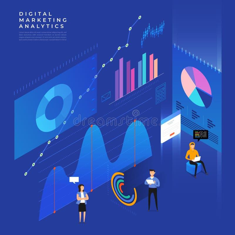 Vlakke van het bedrijfs ontwerpconcept strategie 3d isometrisch vlak ontwerp royalty-vrije illustratie
