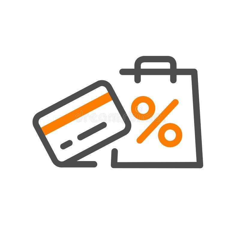 Vlakke van het het conceptenpictogram van het lijnontwerp de aankoopwinst, steun, aankoopproces, online ordeprocedure, websiteban vector illustratie