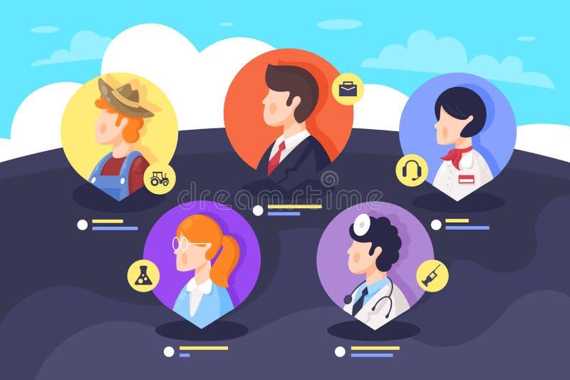 Vlakke vastgestelde pictogramspecialisten met arts, wetenschapper, landbouwer, exploitant, zakenman stock illustratie