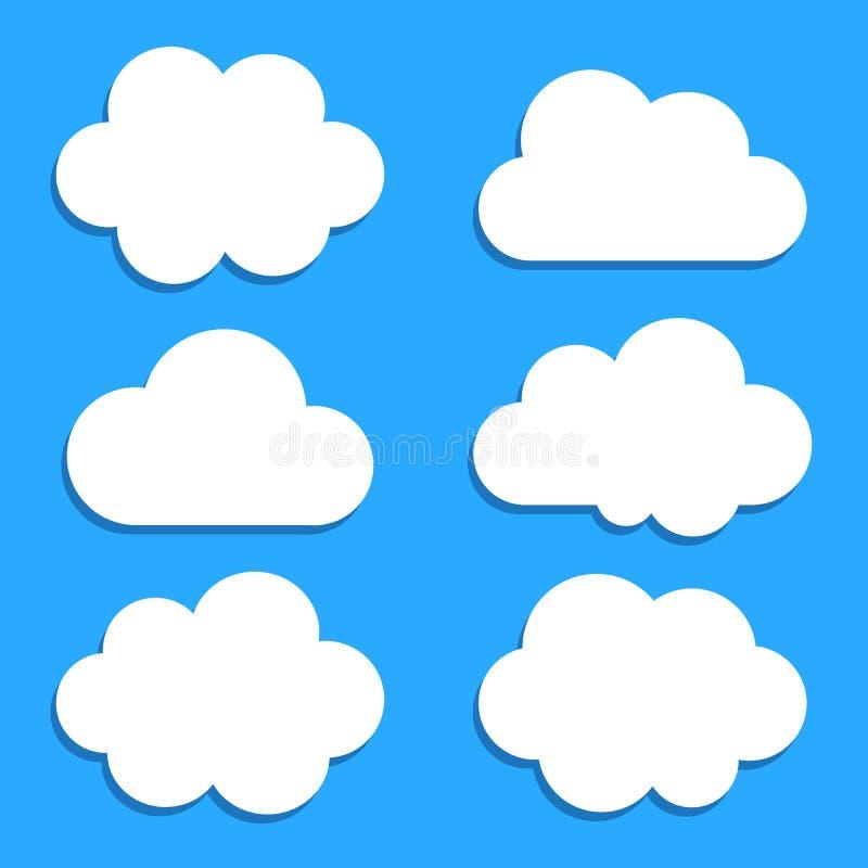 Vlakke vastgestelde vector het netwerkvorm van wolkenpictogrammen vector illustratie