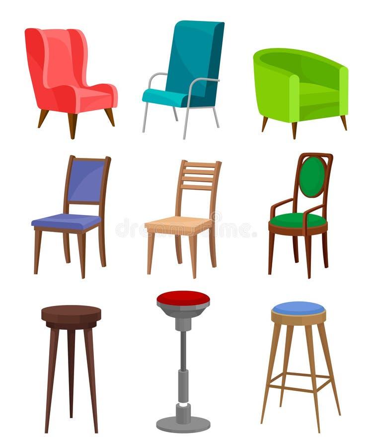 Vlakke vecroereeks comfortabele leunstoelen, het dineren stoelen en barkrukken Modern meubilair Binnenlandse voorwerpen vector illustratie