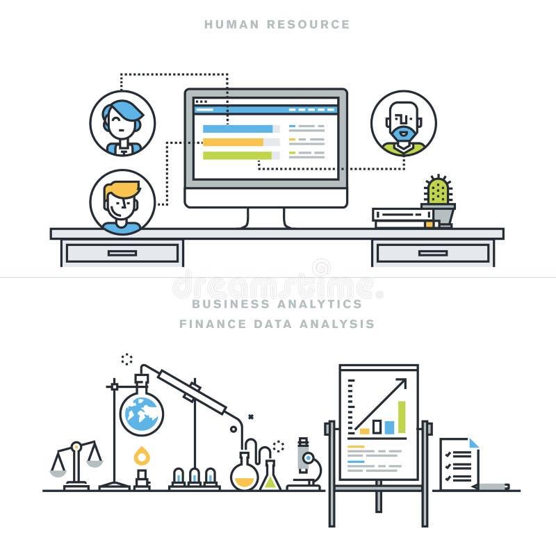 Vlakke vector de illustratieconcepten van het lijnontwerp voor personeel en bedrijfsanalytics