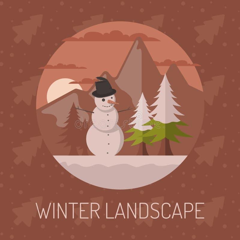 Vlakke vector de winterlandschappen met een sneeuwman, bergen en een dalende sneeuw op een rode achtergrond Vector illustratie royalty-vrije illustratie