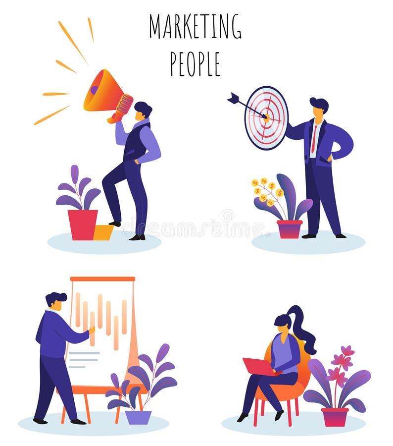 Vlakke Vector Geplaatste Illustratie Op de markt brengende Mensen vector illustratie