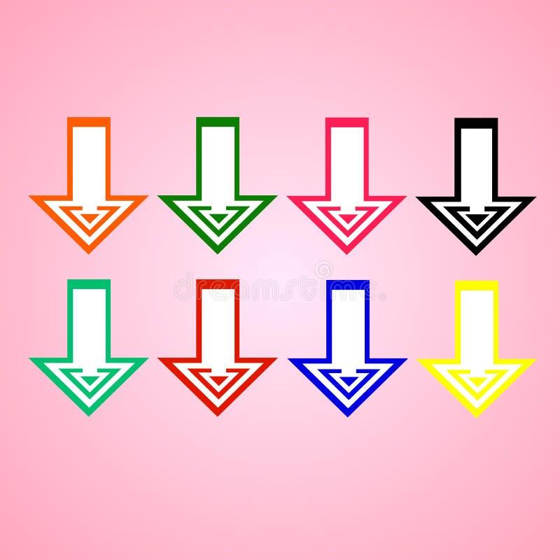 Vlakke vector: reeks van acht eenvoudige heldere gekleurde pijlen op roze achtergrond Symmetrische, grafische, duidelijke lijnen vector illustratie