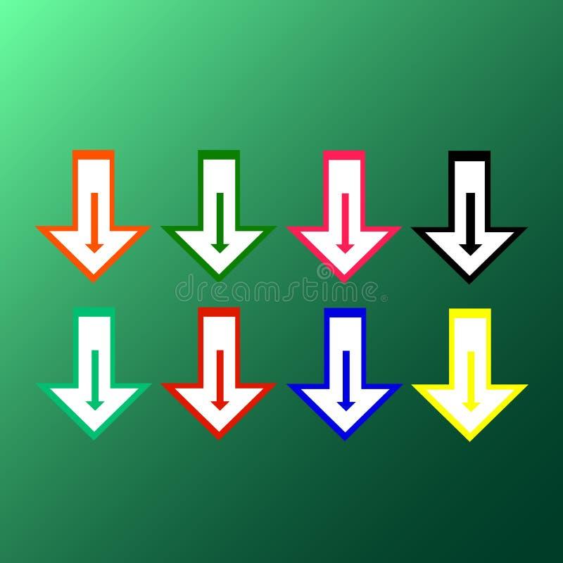 Vlakke vector: reeks van acht eenvoudige heldere multicolored pijlen op een groene achtergrond royalty-vrije illustratie