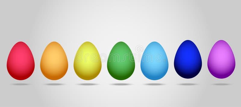 Vlakke Vector: Reeks van zeven eieren voor de viering van Gelukkige Pasen In een reeks eieren van alle kleuren van de regenboog stock illustratie