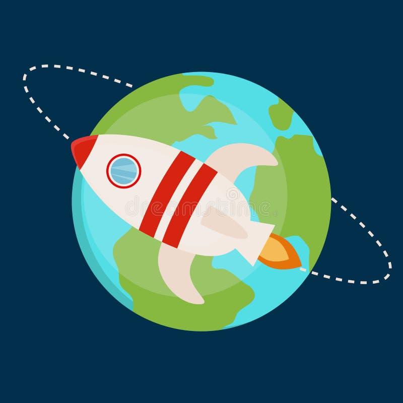 Vlakke vector ruimteraketillustratie royalty-vrije illustratie