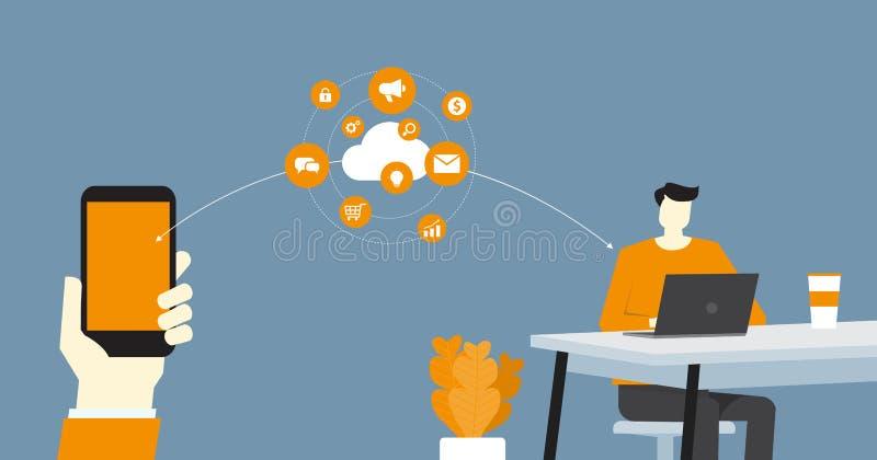 Vlakke vector slimme zaken werkend en online werkend om het even welke werkplaats royalty-vrije illustratie