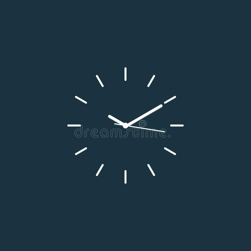 Vlakke vector van de prikklok de minimale lijn stock illustratie