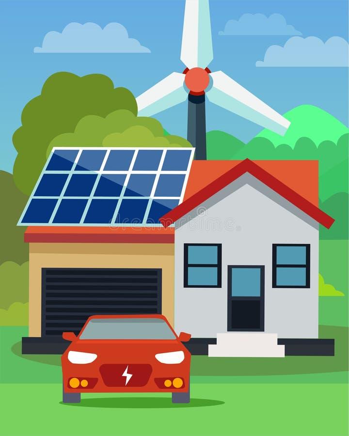 Vlakke vector van een elektrische auto voor een huis met zonnepanelen en windturbine op de achtergrond vector illustratie