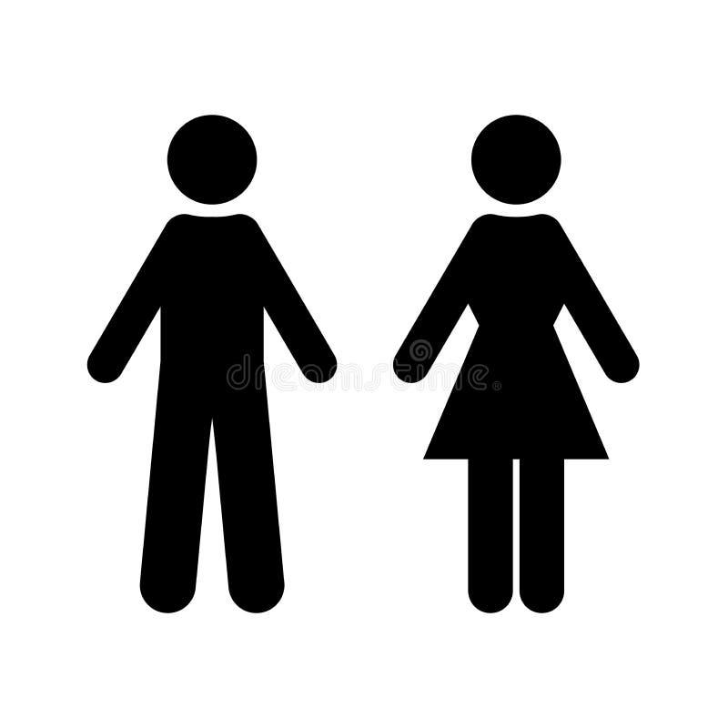 Vlakke vector: zwart silhouet van de mens en vrouw Geïsoleerd teken, symbool op een witte achtergrond vector illustratie