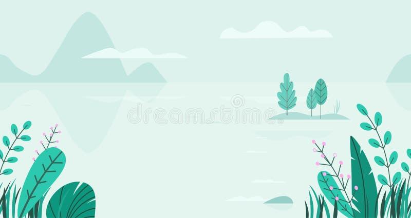 Vlakke vectorachtergrond van de lentelandschap met minimale bomen, meer, bergen, bloemen, gras Naadloze fantasieaard royalty-vrije illustratie