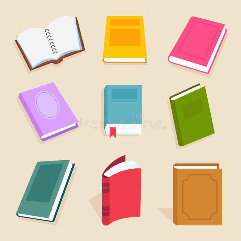 Vlakke vectorboeken en lezingsdocumenten Open van het van de wetenschapshandboek, encyclopedie en woordenboek pictogrammen stock illustratie