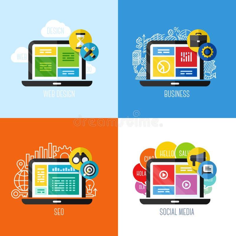 Vlakke vectorconcepten Webontwerp, zaken, sociale media, SEO stock illustratie