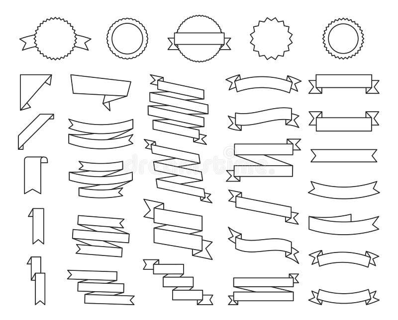 Vlakke vectordielintenbanners vlak op witte achtergrond, Illustratiereeks worden geïsoleerd van linten Lintvector stock illustratie