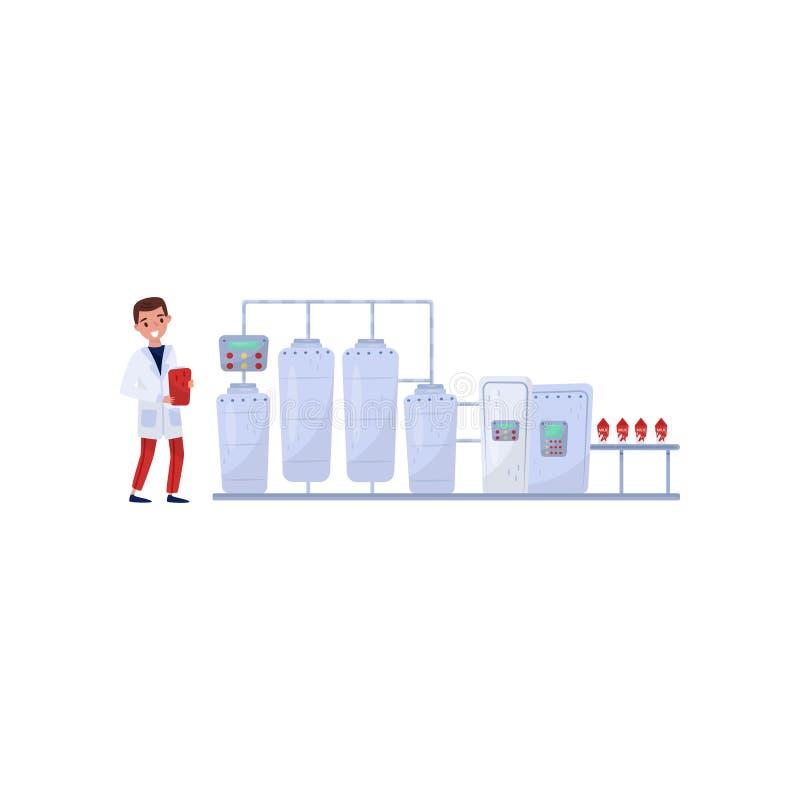 Vlakke vectorillustratie die verwerking op melkfabriek tonen Automatische transportband Vrolijke mens die de productie controlere vector illustratie