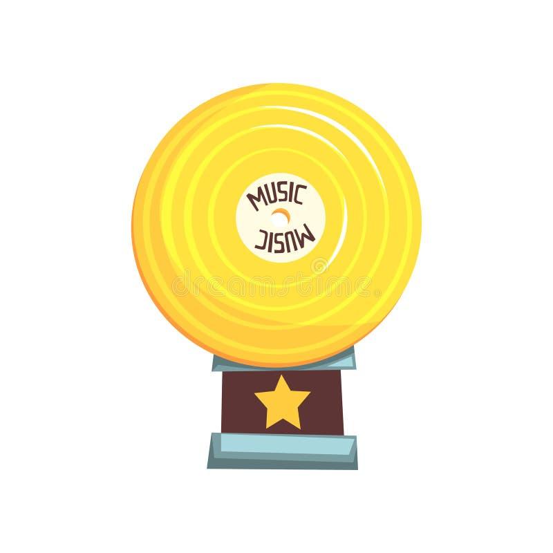 Vlakke vectorillustratie van gouden vinylverslagtoekenning op bruine basis Glanzende trofee in vorm van schijf vector illustratie