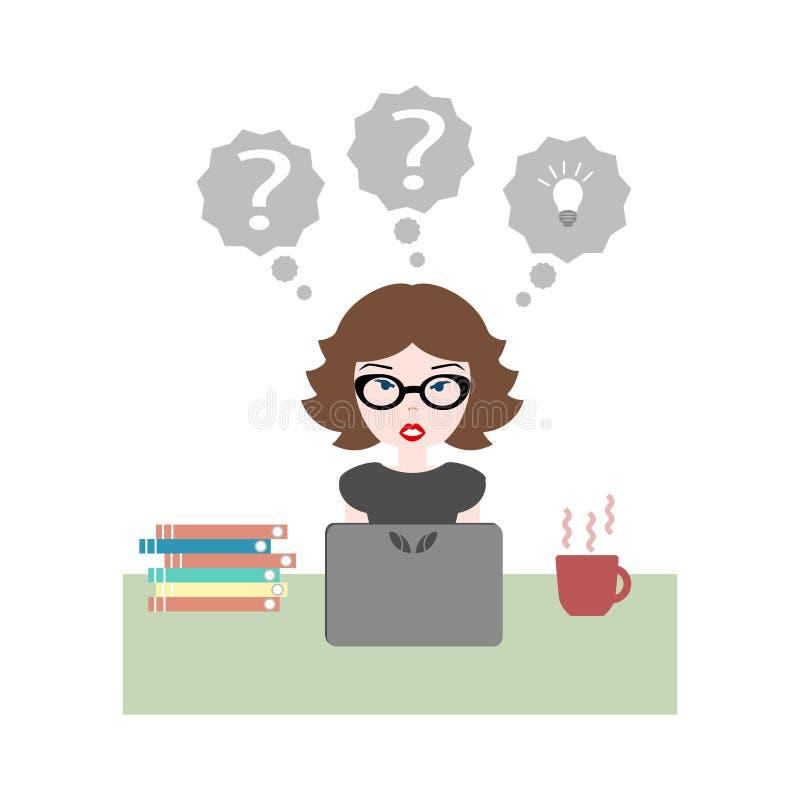 Vlakke vectorillustratie van meisjeszitting op het werk bij bureau met La stock illustratie