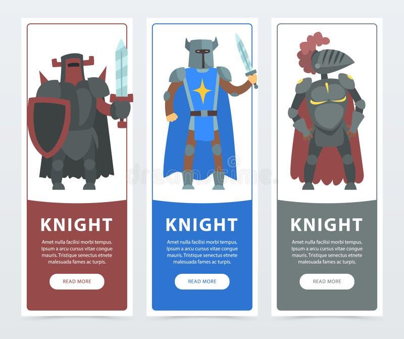 Vlakke vectorillustratiereeks verticale banners met moedige ridders Grappige strijderskarakters die in pantser met ijzer dragen vector illustratie