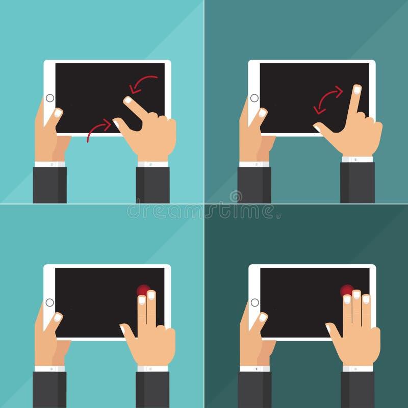 Vlakke vectorinzameling van tabletten met handen het houden en wat betreft het scherm stock afbeelding