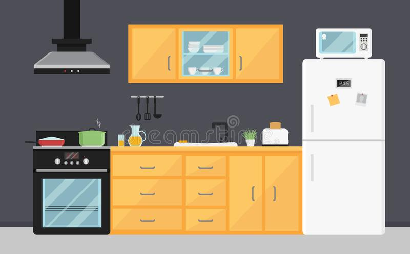Vlakke vectorkeuken met elektrische toestellen, gootsteen, meubilair en schotels Moderne kokende apparaten Zaal binnenland stock illustratie