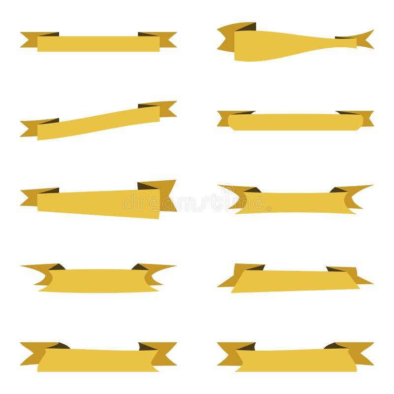 Vlakke vectorlintbanners op witte achtergrond stock illustratie