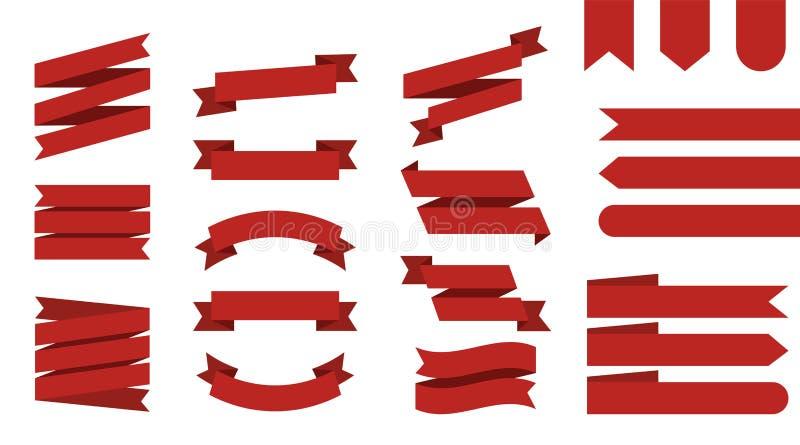 Vlakke vectorlintenbanners ge?soleerde achtergrond Gekleurd lint rood Vastgestelde linten of banners Vector royalty-vrije illustratie
