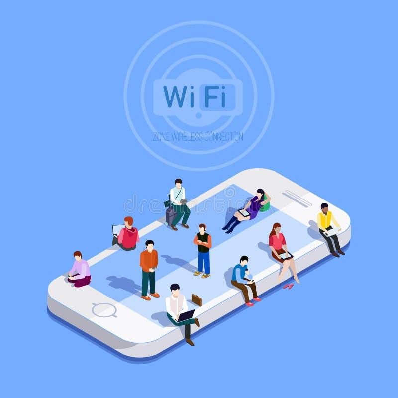 Vlakke vectormetafoormensen in WiFi-streek royalty-vrije illustratie