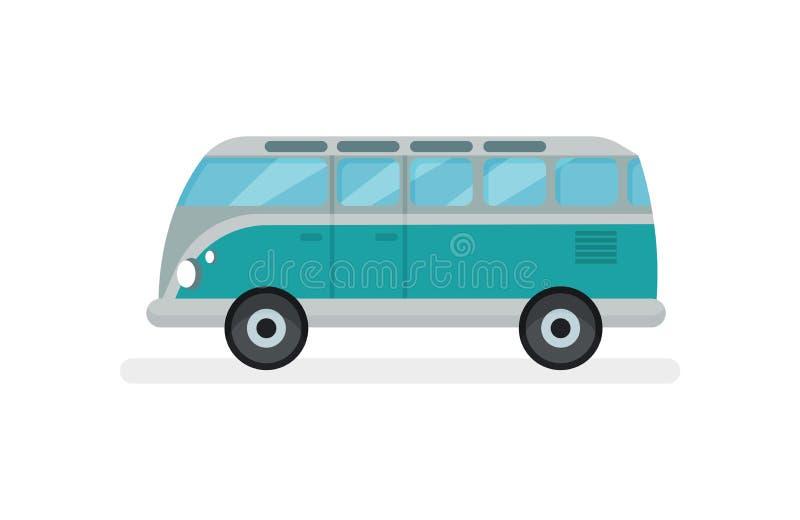 Vlakke vectorpictogram kleine retro bestelwagen Motorvoertuig voor wegreis De trein is op de post Automobiel thema stock illustratie