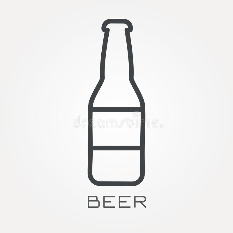 Vlakke vectorpictogrammen met bier royalty-vrije illustratie