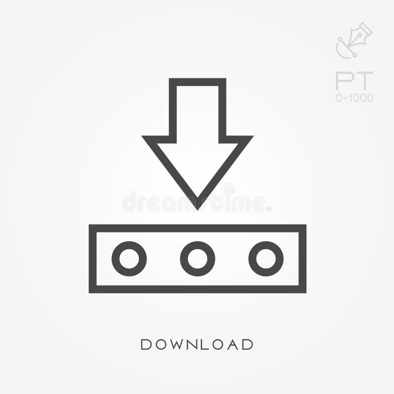 Vlakke vectorpictogrammen met download stock illustratie