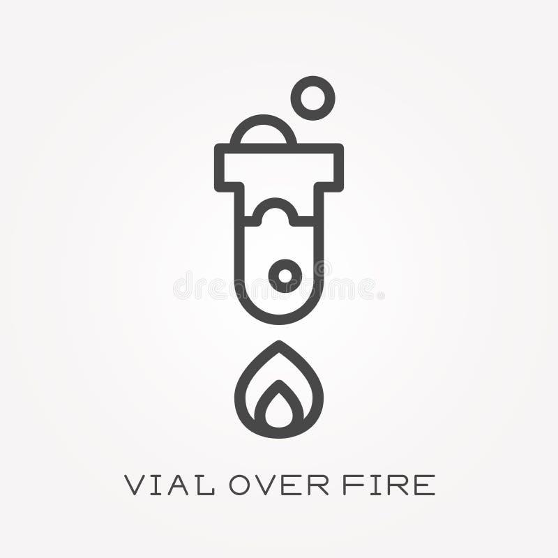 Vlakke vectorpictogrammen met flesje over brand stock illustratie