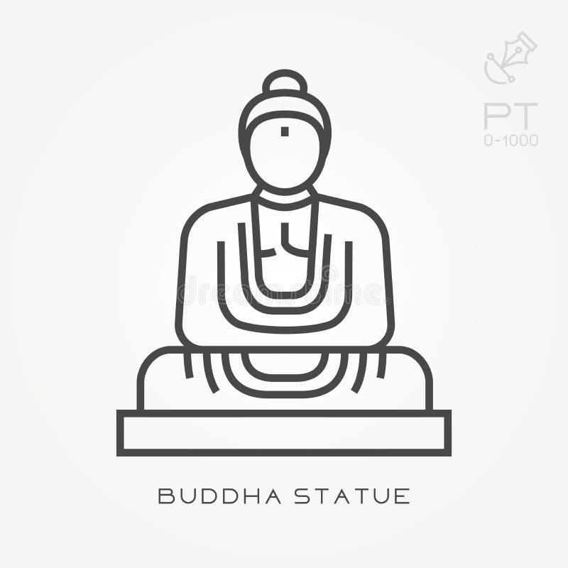 Vlakke vectorpictogrammen met het standbeeld van Boedha stock illustratie