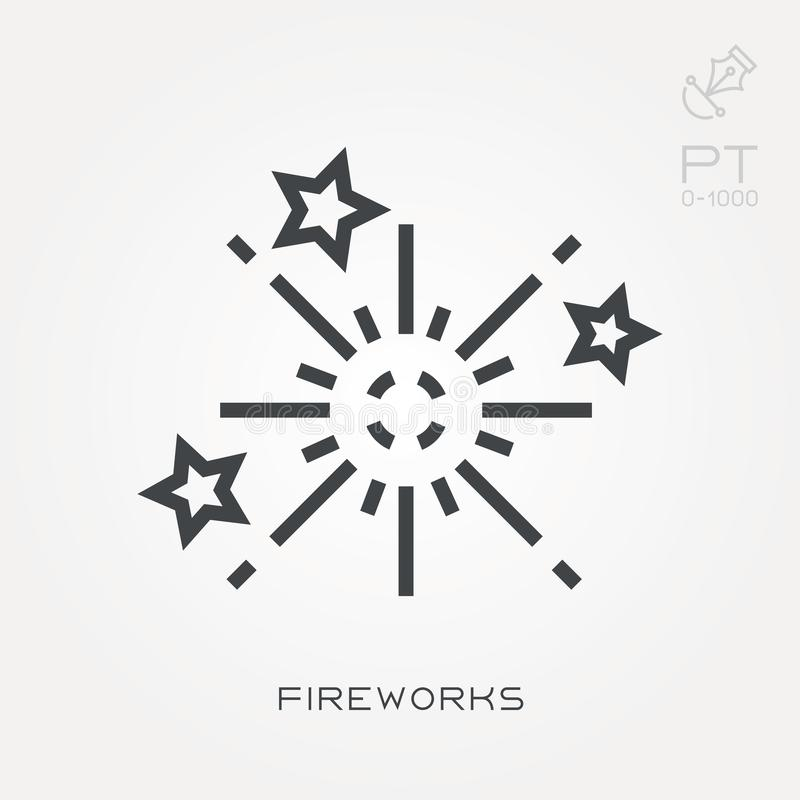 Vlakke vectorpictogrammen met vuurwerk stock illustratie