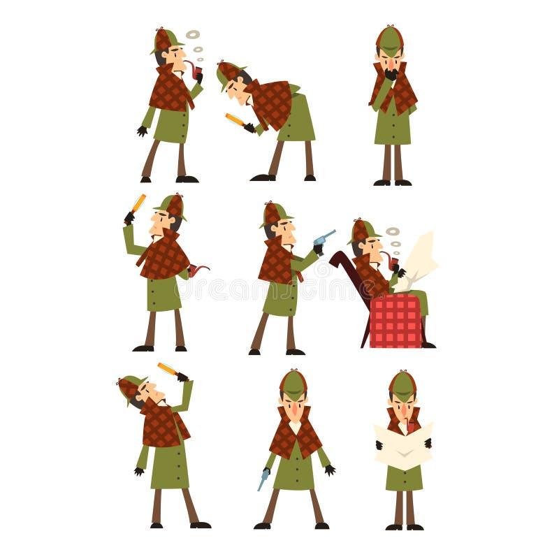 Vlakke vectorpictogrammen van detective Sherlock in verschillende acties die, lezend krant, die pijp, het onderzoeken roken denke stock illustratie