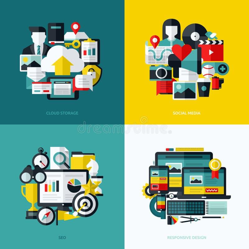Vlakke vectorpictogrammenreeks van wolkenopslag, sociale media, SEO royalty-vrije illustratie