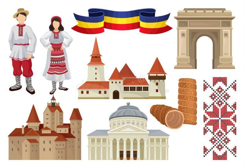 Vlakke vectorreeks culturele symbolen van Roemenië Voedsel, historische architectuur, lint in kleur van Roemeense tricolor vector illustratie