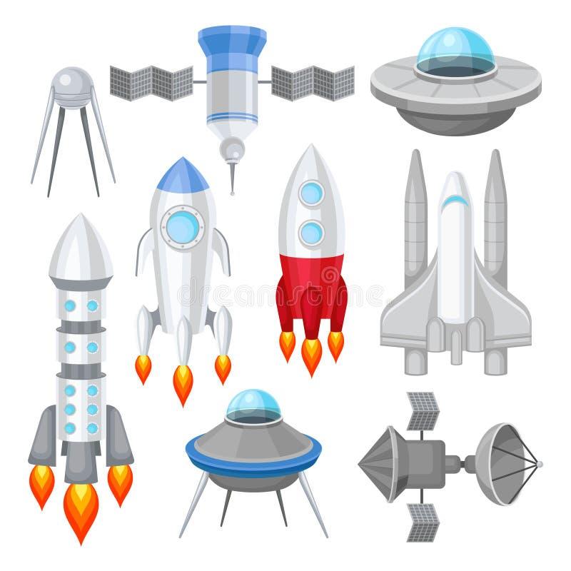Vlakke vectorreeks diverse ruimtevaartuigen Raketten met motorbrand, groot ruimteveer, vreemde UFO en stock illustratie