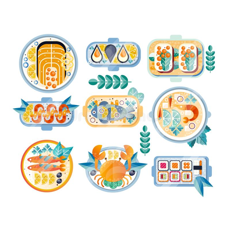 Vlakke vectorreeks diverse zeevruchtenschotels Gekookte krab, mosselen, garnalen, zalm, tonijn, sushi en sandwiches met kaviaar stock illustratie
