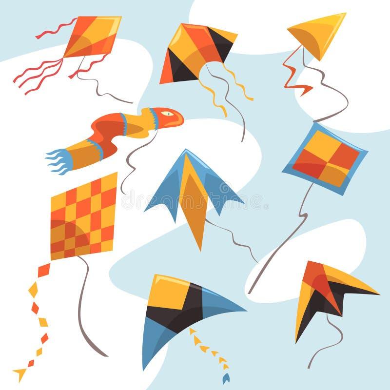 Vlakke vectorreeks helder-gekleurde vliegers Vliegend speelgoed voor kinderenactiviteiten en spel Hemel en wind, hobby en stock illustratie