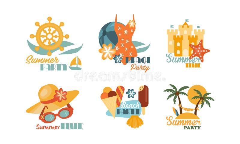Vlakke vectorreeks kleurrijke de zomeretiketten Het thema van de strandvakantie Elementen voor promo deegachtige vlieger of prent vector illustratie