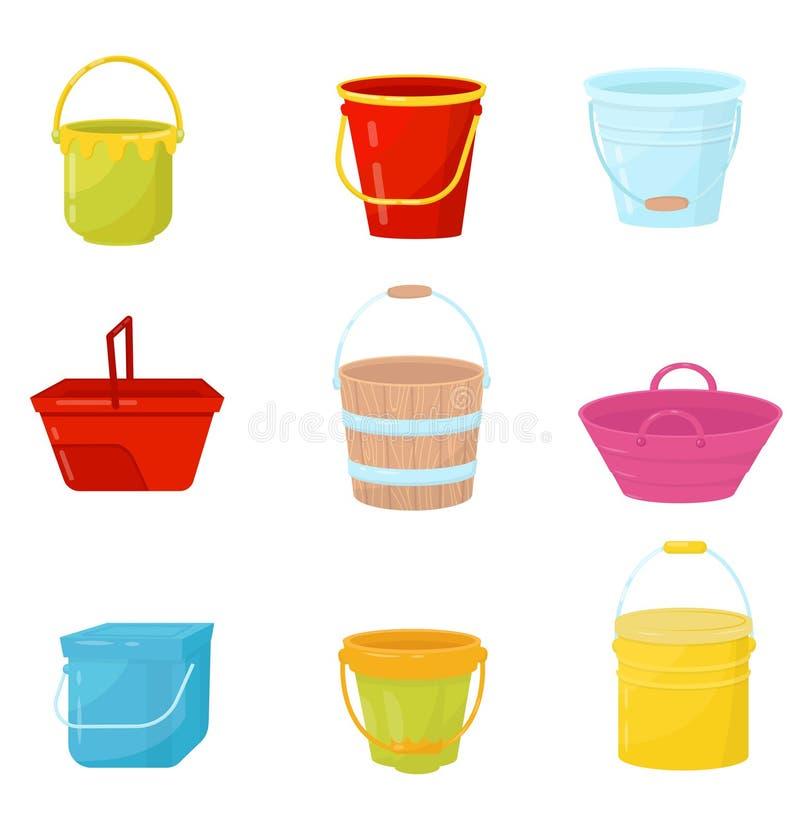 Vlakke vectorreeks kleurrijke emmers De emmers van het plastic, houten en metaalwater De containers voor dragen vloeistoffen of a stock illustratie