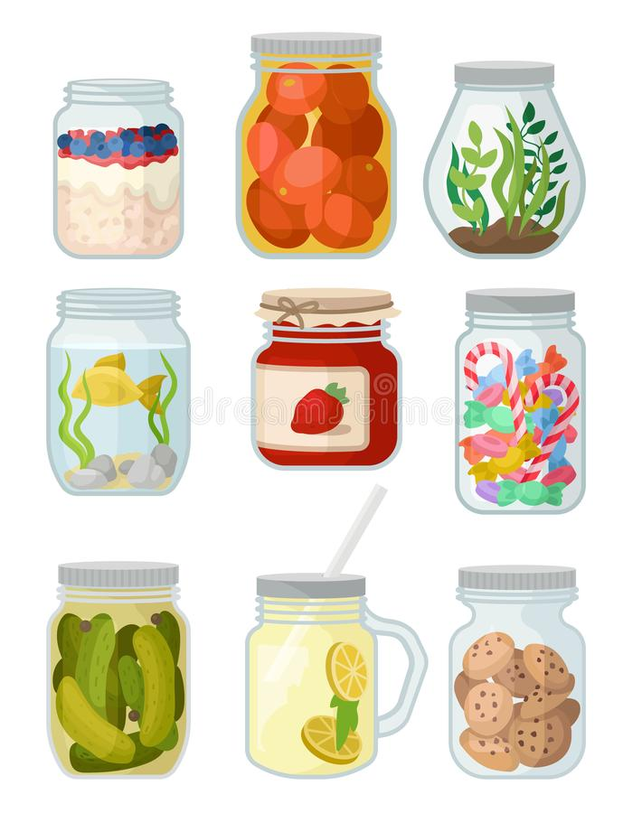 Vlakke vectorreeks kruiken met verschillende voorwerpen De ingeblikte groenten, koekjes en suikergoed, jam, de vissen en het gras vector illustratie