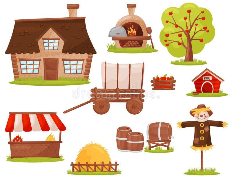 Vlakke vectorreeks landbouwbedrijfpictogrammen Plattelandshuisje, houten-in brand gestoken oven, fruitboom, stapel van hooi, mark stock illustratie