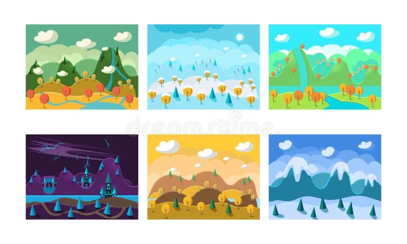 Vlakke vectorreeks landschappen met verschillende seizoenen Achtergronden voor mobiel spel Landschap met bergen, heuvels en vector illustratie