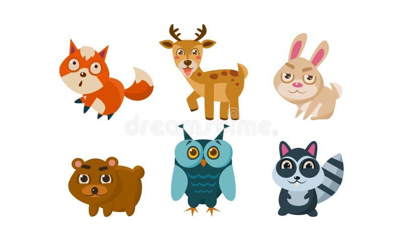 Vlakke vectorreeks leuke dieren De herten, rode vos, konijntje, dragen, uil en wasbeer Beeldverhaalkarakters van bosschepselen stock illustratie