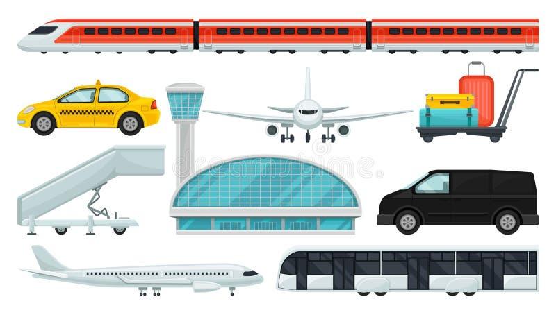 Vlakke vectorreeks luchthavenelementen Sneltrein, taxi, vliegtuig, passagiersvervoer, de eindbouw, karretje met vector illustratie